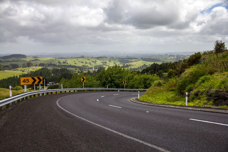 Newzealand Northisland Highway Scenic Lookout Scenery Landscape Auckland Road Sign Sky Outdoors Clouds Driving Direction Transportation Cloud - Sky Road Marking Rolling Hills Countryside NZ New Zealand New Zealand Scenery First Eyeem Photo