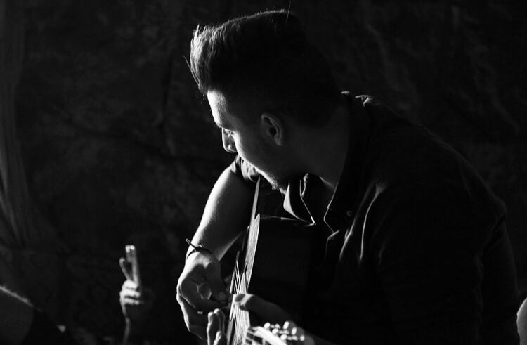 Blackandwhite Light And Shadow Man Guitar Relaxing Music