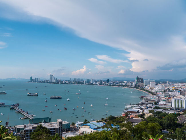 Architecture Bay Blue Boat Built Structure Capital Cities  City City Life Cityscape Cloud Cloud - Sky Cloudy Day Harbor Mode Of Transport Nature Outdoors Pattaya Sky Travel Destinations Water