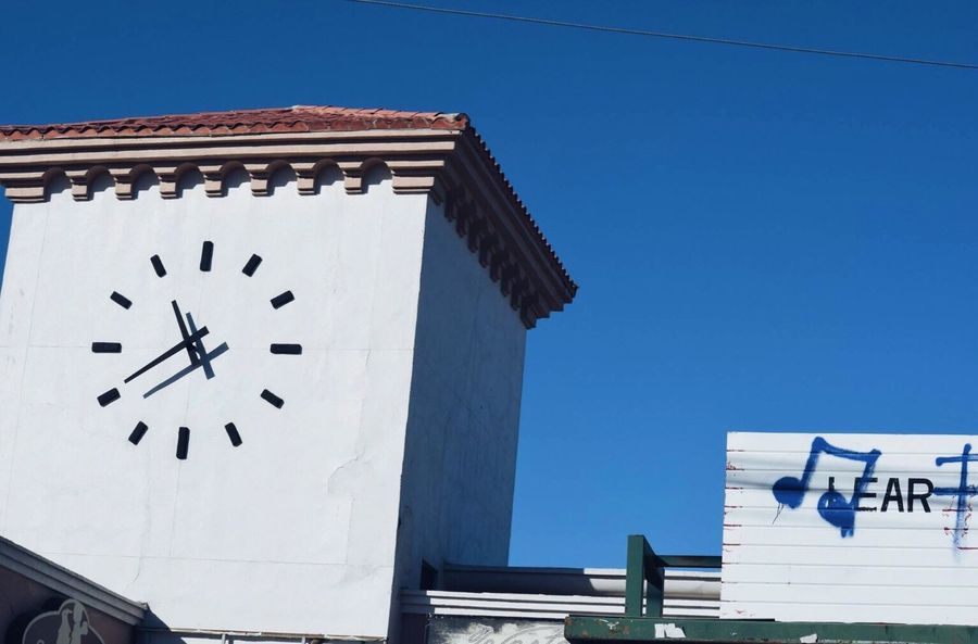 Blue Wave Clock White Blue Music Music Notes Mexico Blue Sky