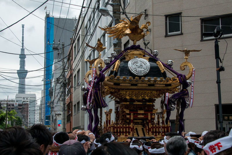 Carnival Festival In Tokyo Downtown Tokyo,Japan Portable Shrine スカイツリーとお神輿 下谷神社 下谷神社大祭