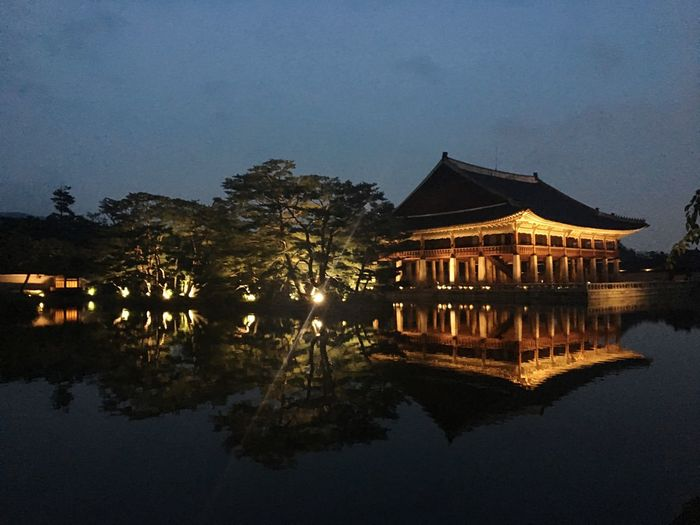 Reflection Water Lake Architecture Korean Traditional Architecture Seoul
