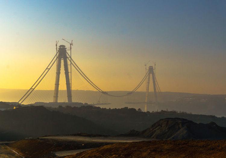 View of bridge over calm sea