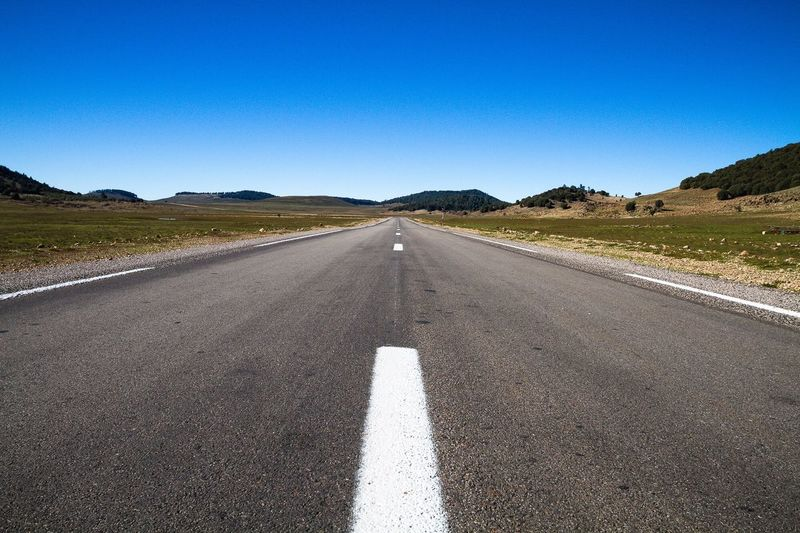 Highway in Morocco. Geometry Light And Shadow Design Texture Arrangement Perspective Check This Out Eye4photography  Pattern, Texture, Shape And Form Textured  No People Showcase March Blue Sky Landscape Morocco Road Highway