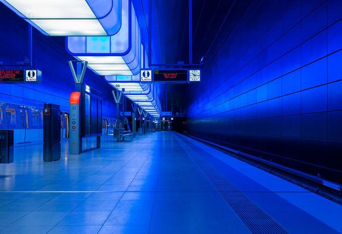 Underground Underground Station  Architecture Blue Illuminated Indoors  Night No People Public Transportation Rail Transportation Railroad Station Railroad Station Platform The Way Forward Train - Vehicle Transportation