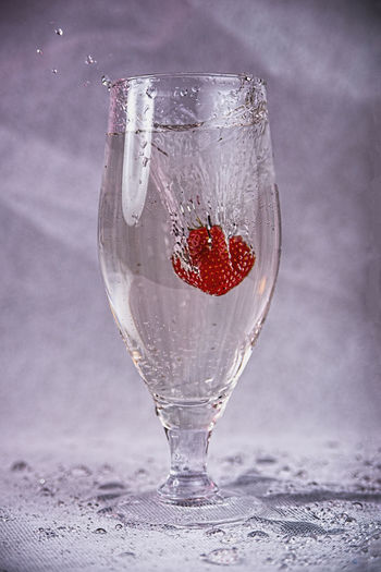 Close-up of red wine glass