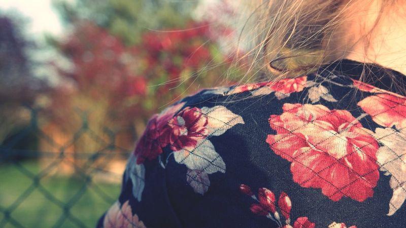 Flowers Back Spring Girl