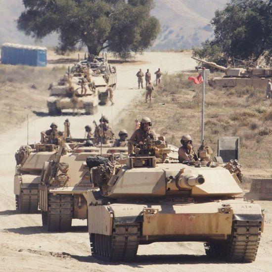 Convoy of U.S Marine Corps M1A2 Abrams tanks USA Us Military USMC M1A2 Abrams Tank Tanks