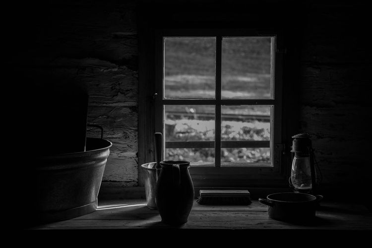 still life Window Container Absence Table Transparent Dark Glass Jar Food And Drink Household Equipment Indoors  No People Domestic Room Glass - Material Still Life Day Simplicity Home Interior Crockery Pitcher - Jug Bottle Window Sill Nature