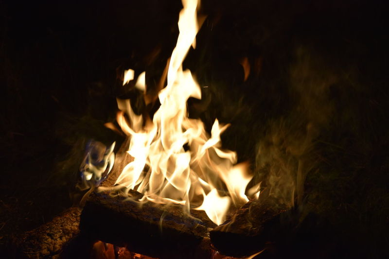 Nighttime heat Flame Burning Heat - Temperature Fire - Natural Phenomenon Firewood Close-up Glowing Bonfire Motion Wood - Material Orange Color Outdoors Campfire Fire Pit No People Scotland Devil's Pulpit Nature