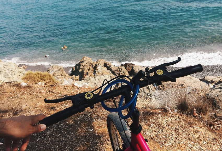 Summer Sea Bicycle Road Route Waves Blue Sand Mountain Cliff Rocks Holiday Warm Cycle Wheel Trip Turkey Young Active Cycling Sunny Nature Object Lovely Daylight