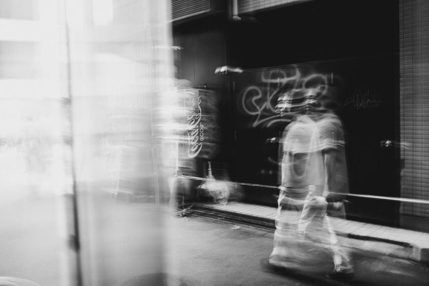 OSAKA Japan Streetphotography Blackandwhite Bnw Real People Blurred Motion One Person
