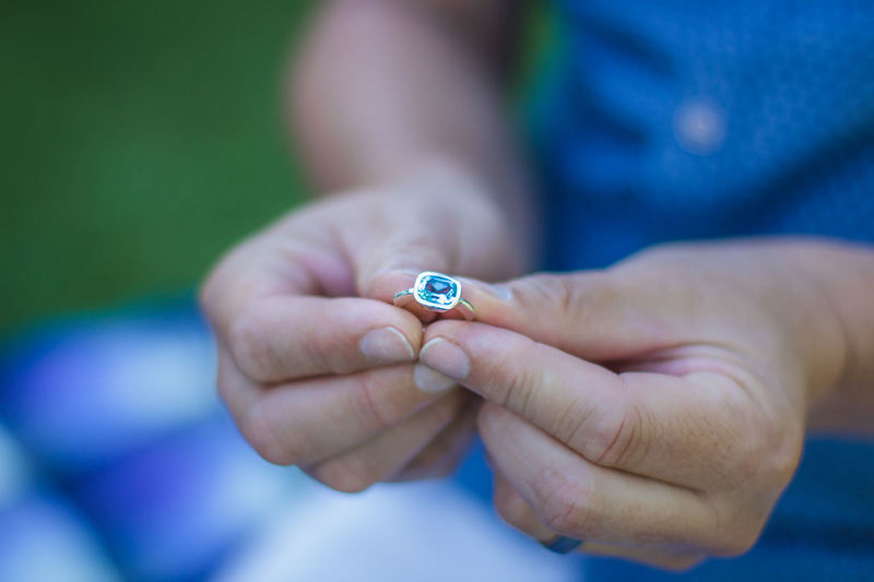 Canon 7D, 50mm lense Beautiful Anniversary Blue Close-up Finger Ring Gemstone  Gift Human Hand Outdoors Real People Ring Special Togetherness Topaz Two People