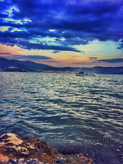 Water Scenics Tranquil Scene Mountain Tranquility Sea Cloud - Sky Sunset Rippled Nautical Vessel Beauty In Nature Sky Blue Idyllic Mountain Range Nature Non-urban Scene Seascape Calm Tourism First Eyeem Photo