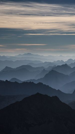 Idyllic shot of silhouette pyrenees against sky