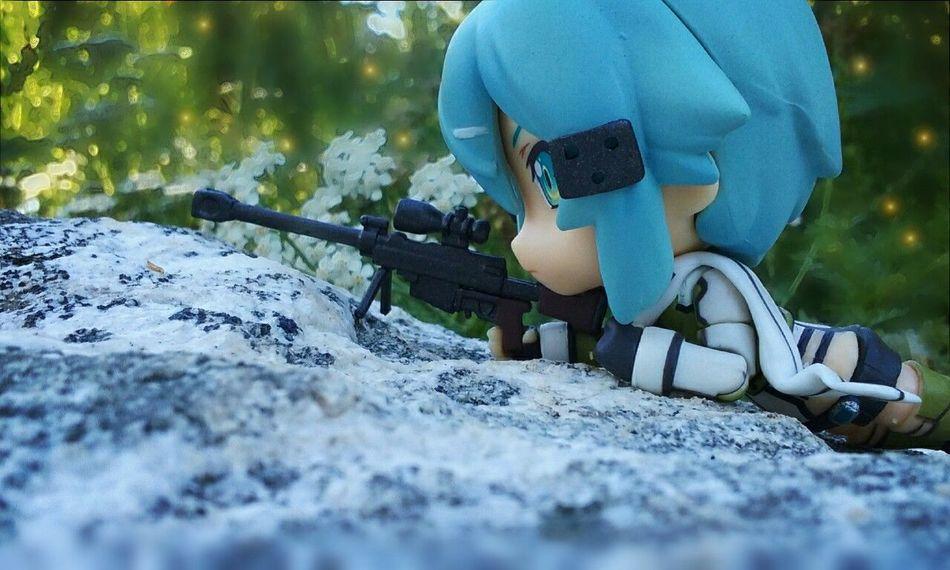 Target in sight. Sinon SwordArtOnline Swordartonline2 Gungaleonline Guns Sniper Sniper Rifle  Toys Toyphotography Toyphotographer Nendoroid Goodsmilecompany Kirito Anime