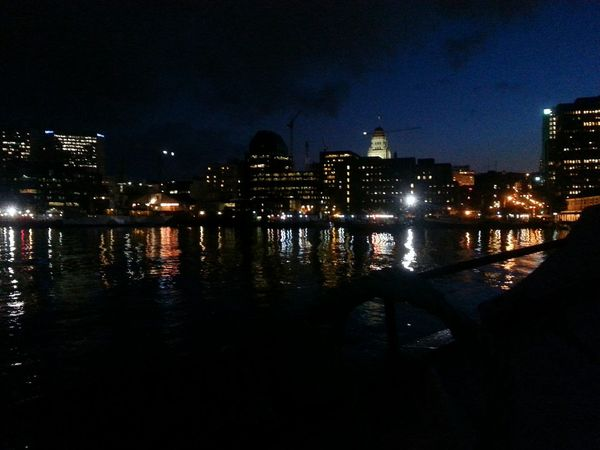 Halifax skyline at night as we pull into port on the Tall Ship Silva. Relaxing My City Perfect Day Taking Photos Harbour Halifax Beautiful Day Waterfront City Skyline Harbour Cruise
