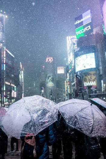 Shibuya snow Photography Japan Shibuya Tokyo Umbrella Rain Wet Weather Rainy Season Rainfall Protection Snowing City People Outdoors Cold Temperature