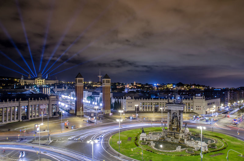 Architecture Barcelona Bridge - Man Made Structure Building Exterior Built Structure Capital Cities  City City Life Cityscape Cloud - Sky Dusk Illuminated Light Trail Lighting Equipment Long Exposure Modern Night River Sky Transportation Travel Destinations