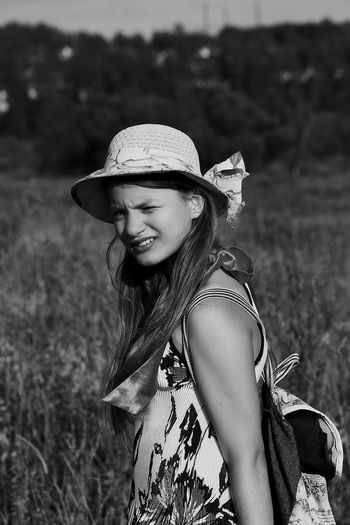Russia Blackandwhite Black And White Black & White Blackandwhite Photography Black And White Photography Black And White Portrait One Person Young Adult Field Long Hair Focus On Foreground Leisure Activity Real People Lifestyles Nature Outdoors Casual Clothing Beauty Happiness Portrait Smiling