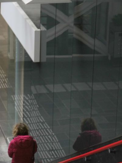 Rear view of woman looking through glass window