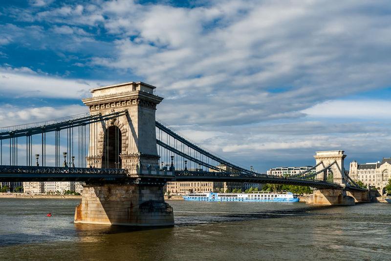 Golden gate bridge over river against cloudy sky