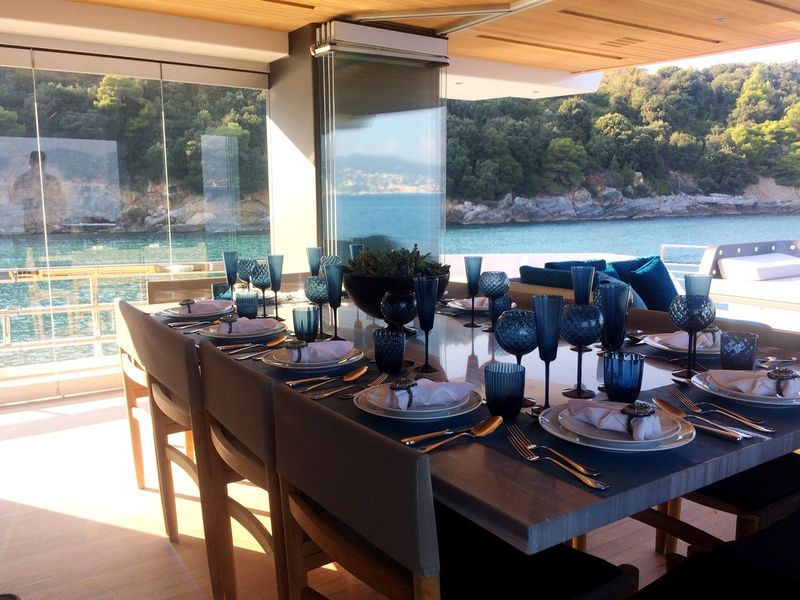 Table Home Interior Sea Luxury Window Indoors  No People Day Water Nature Glassware Yacht Yachting Fancy Table Table Setting Table Decoration Italy Vacations Luxurylifestyle  Luxurious Luxurylife Paradise Stewarding  Holiday Villa