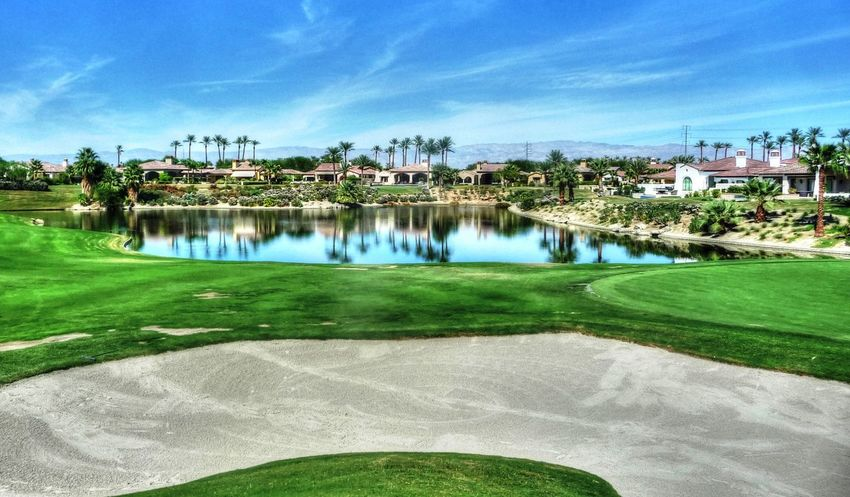 Great golf reflections Architecture Blue Calm Cloud Golf Golfcourse Grass Lawn Mid Distance Pathway Reflection Sand Trap Tourist Resort Tranquil Scene Tranquility Travel Destinations Vacations Walkway Water
