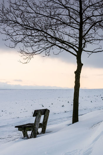 Empty bench on snow covered land against sky