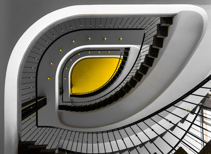 Spiral Stairway in Kassel, hosting a DOCUMENTA Sound Installation. Architecture Built Structure Close-up Day Hand Rail Indoors  Low Angle View No People Railing Spiral Spiral Staircase Staircase Stairs Steps Steps And Staircases