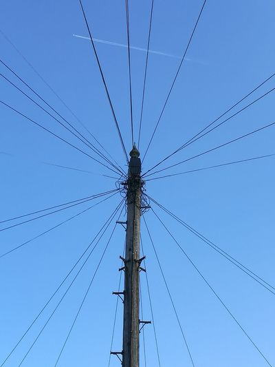 Cable Technology No People Telephone Line Day Sky Lines Plane Looking Up Industry Outdoors Overhead Cables Overhead View Overhead