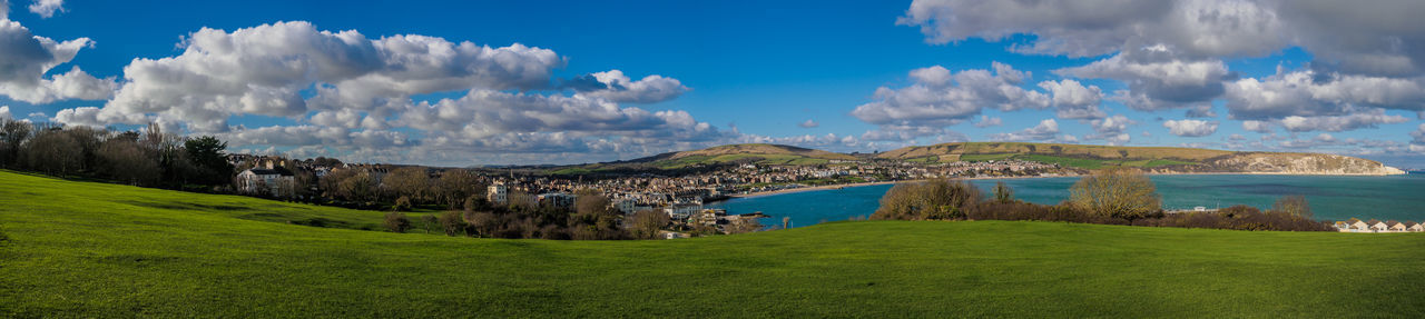 Swanage panorama Dorset Drone  Swanage Beauty In Nature Cloud - Sky Day Dronephotography Grass Green Color Landscape Mountain Nature No People Outdoors Panoramic Scenics Sky Travel Destinations Tree
