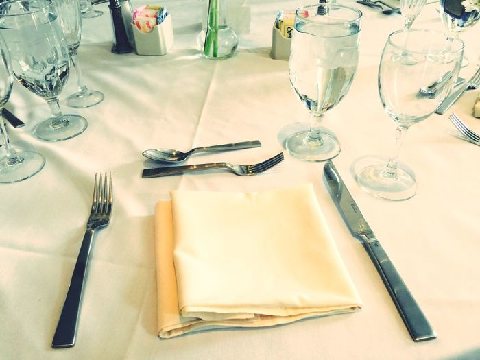 High Angle View Of Empty Table Setting