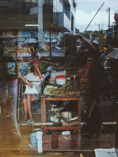 Portrait of Oldman on Reflection Window Streetphotography Streetphoto_color Urbanphotography Documentary Fujifilm