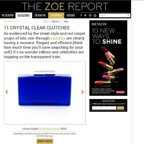 So happy and honored to be featuring in @thezoereport and being one of the Crystal Clear Clutches!!! Thank you Tzr and Rachel Zoe!!! ???? Uraniagazelli Rachelzoe Thezoereport