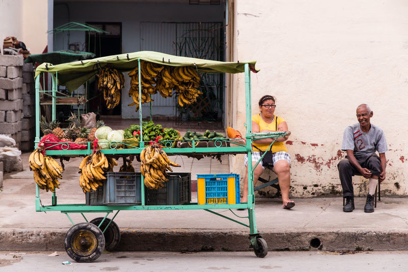 Cuba lifestyle Cuba Cuban People Traveling Travel Cart Happy Day Holidays Banana Selling On The Street