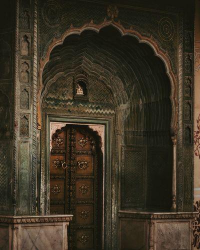 Close-up of door of temple