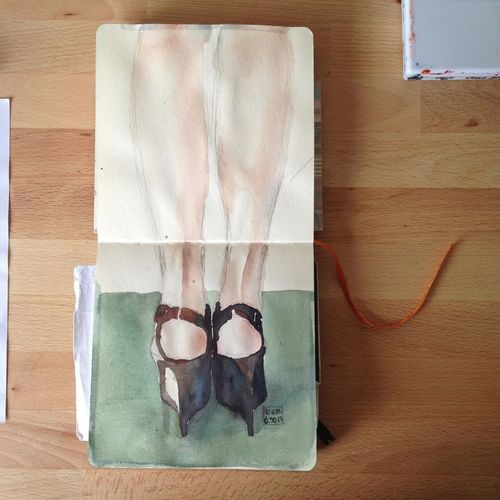 Watercolour Journal Painting Marni Other People's Shoes