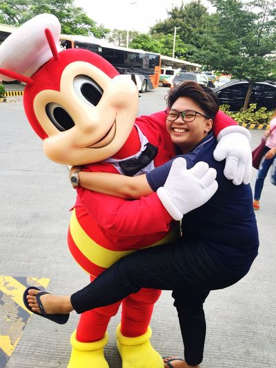 Real happiness w/ Jollibee😂 Smile Jollibee Joy Two People Smiling Real People Day Leisure Activity Togetherness Happiness