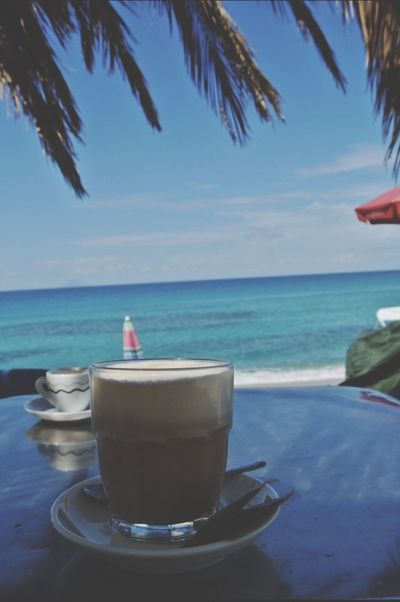 Sea Horizon Over Water Food And Drink Water Beauty In Nature Outdoors Coffee Time