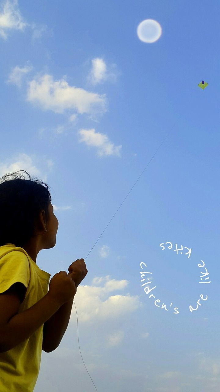 childhood, real people, boys, sky, one person, flying, low angle view, lifestyles, happiness, day, outdoors, nature, bubble wand, people