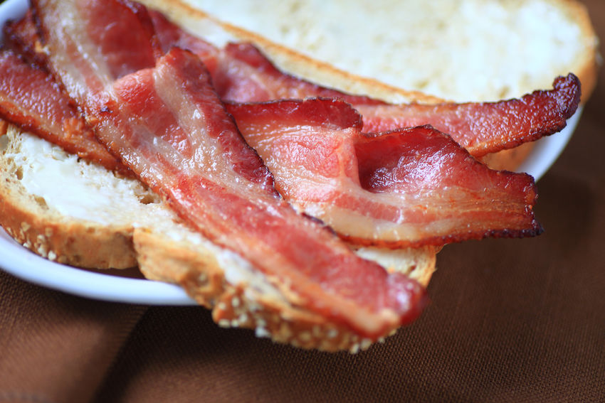 Closeup of bacon sandwich Bacon Breakfast Close-up Day Fatty Foods Indoors  Lunch Mayonnaise Meal Meat Natural Light No People Plate Pork Ready-to-eat Salty Food Sandwich Savory Snack Supper Textures Unhealthy Eating