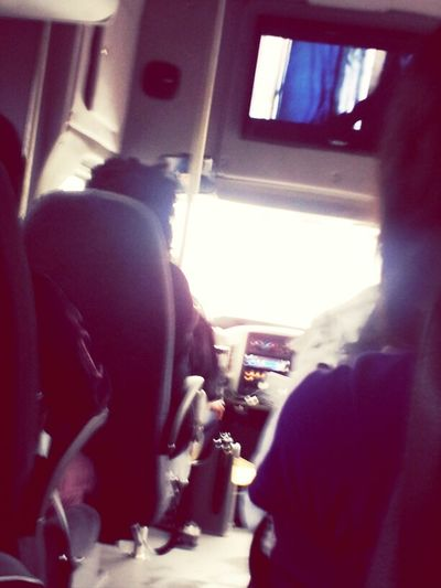 on the bus watching hunger games