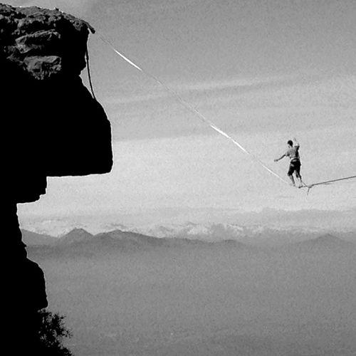 Adventure Club Arriving Gorilla Rock Slackline Walking Around Mountains Highline