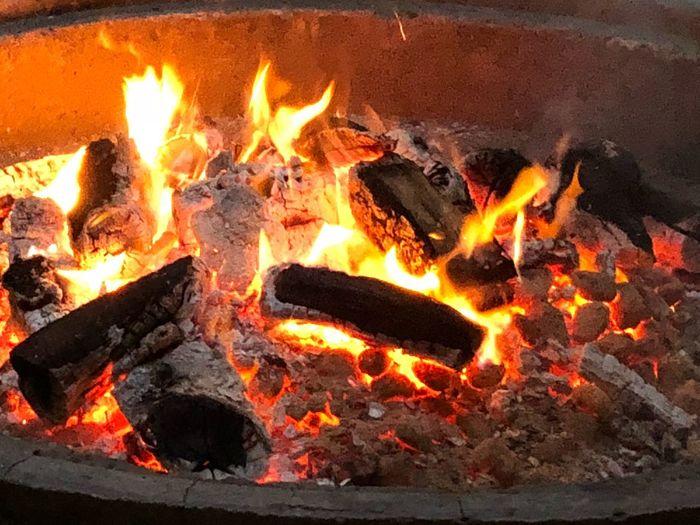 High angle view of bonfire at night
