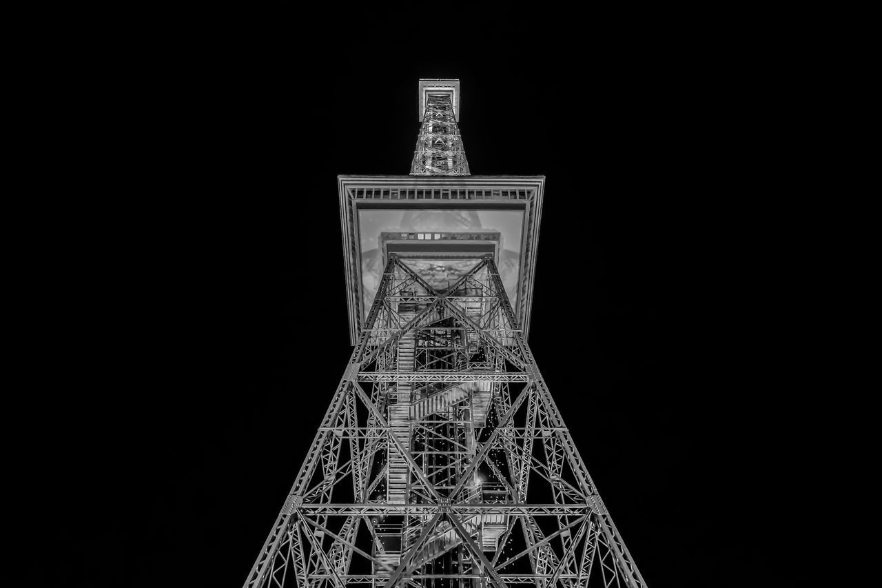 Low Angle View Of Funkturm Berlin Against Sky At Night