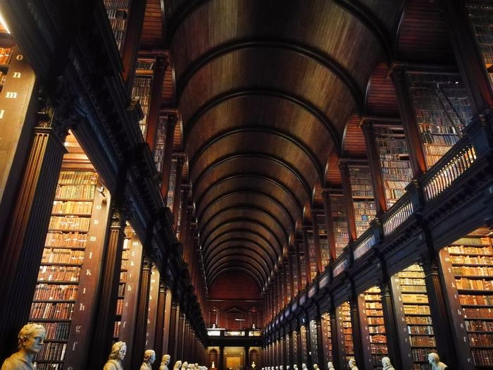 Old Books Books Statue Trinity College & Book Of Kells Library Arch Architecture History Indoors  Travel Destinations Built Structure Architectural Column No People City