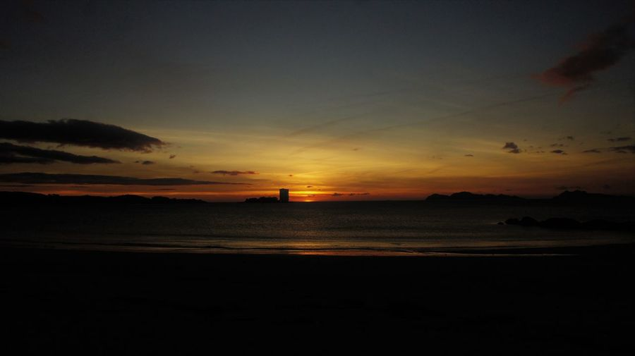 Samil Vigo Beach Beauty In Nature Horizon Over Water Nature No People Outdoors Scenics Sea Silhouette Sky Sunset Toralla Island Tranquil Scene Tranquility Tzootz Water