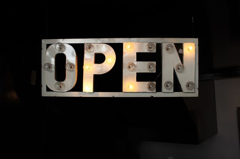We are open! Bar Sign Close-up Dark Illuminated Information Sign Lighting Equipment Lights On Neon Night Life No People Open