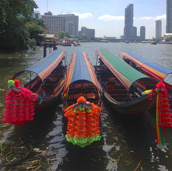 On the river Longtailboat เรือหางยาว Water Architecture Building Exterior Built Structure Nature City Transportation Day River Plant Sky Mode Of Transportation Nautical Vessel